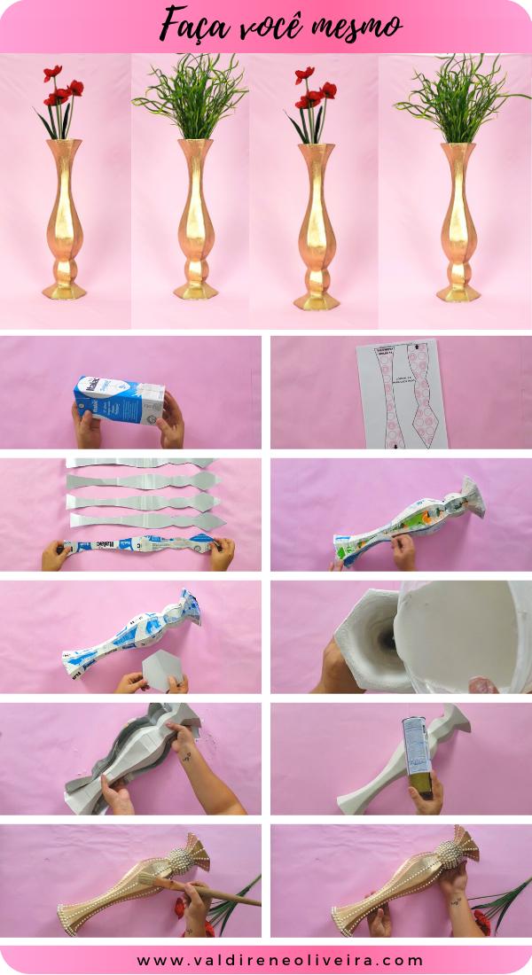 como fazer vaso de caixa de leite