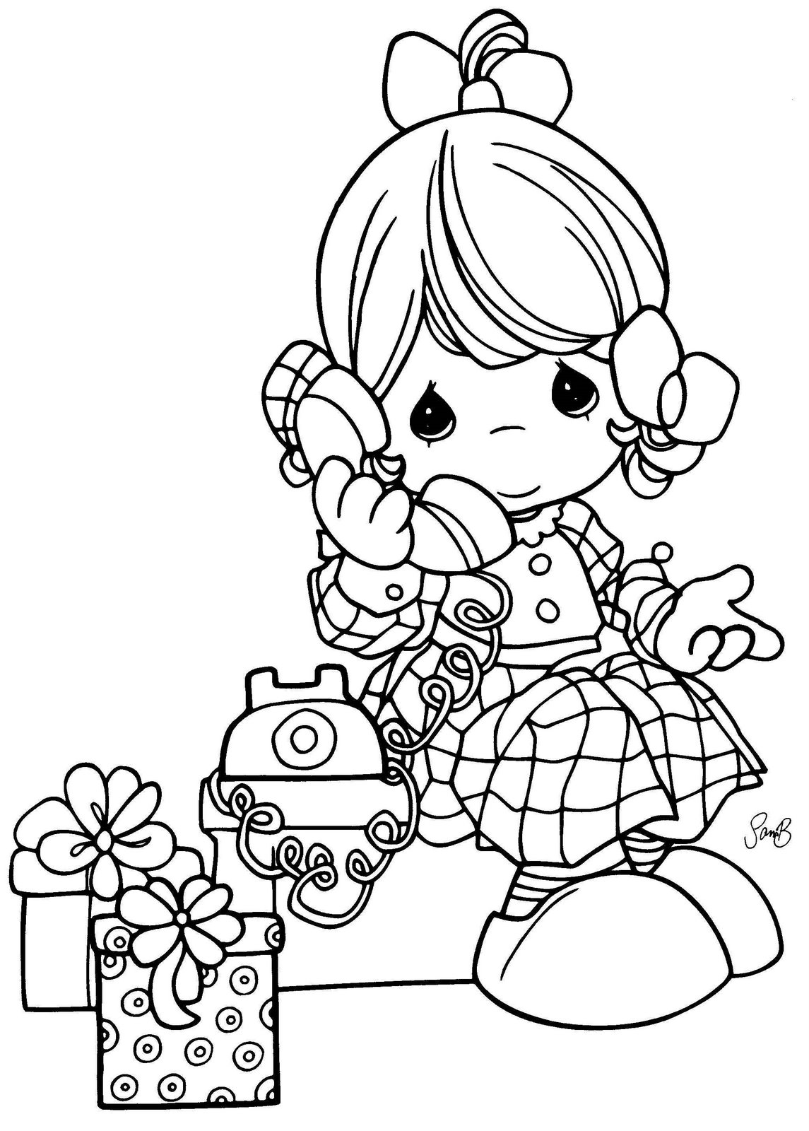 Precious moments drawings coloring girl with phone for Precious moments coloring page