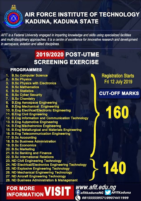 AFIT Post-UTME Admission Screening Form 2019/2020 | ND & Degree