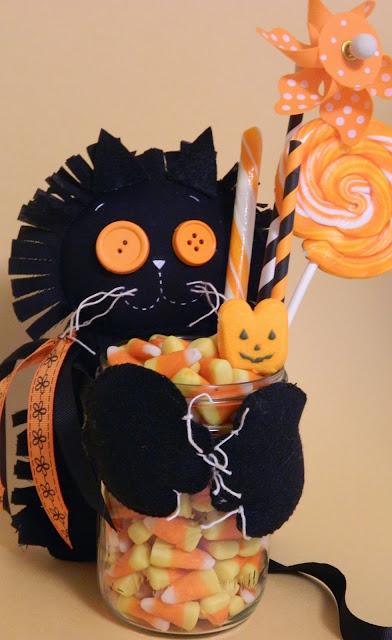 felt halloween decorated candy jar
