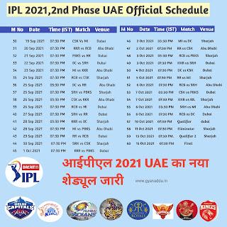 IPL 2021 2nd Half UAE Official Schedule