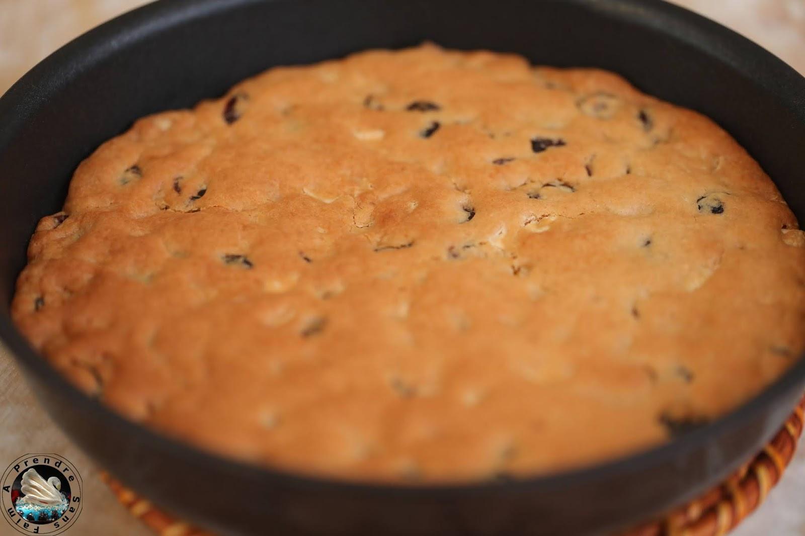 One pan cookie cranberries pépites de chocolat blanc