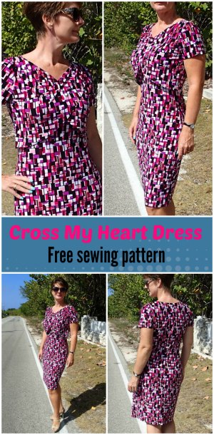 The Vintage Pattern Files: 1950s Free Sewing Pattern - 1950s Style Cross Your Heart Dress
