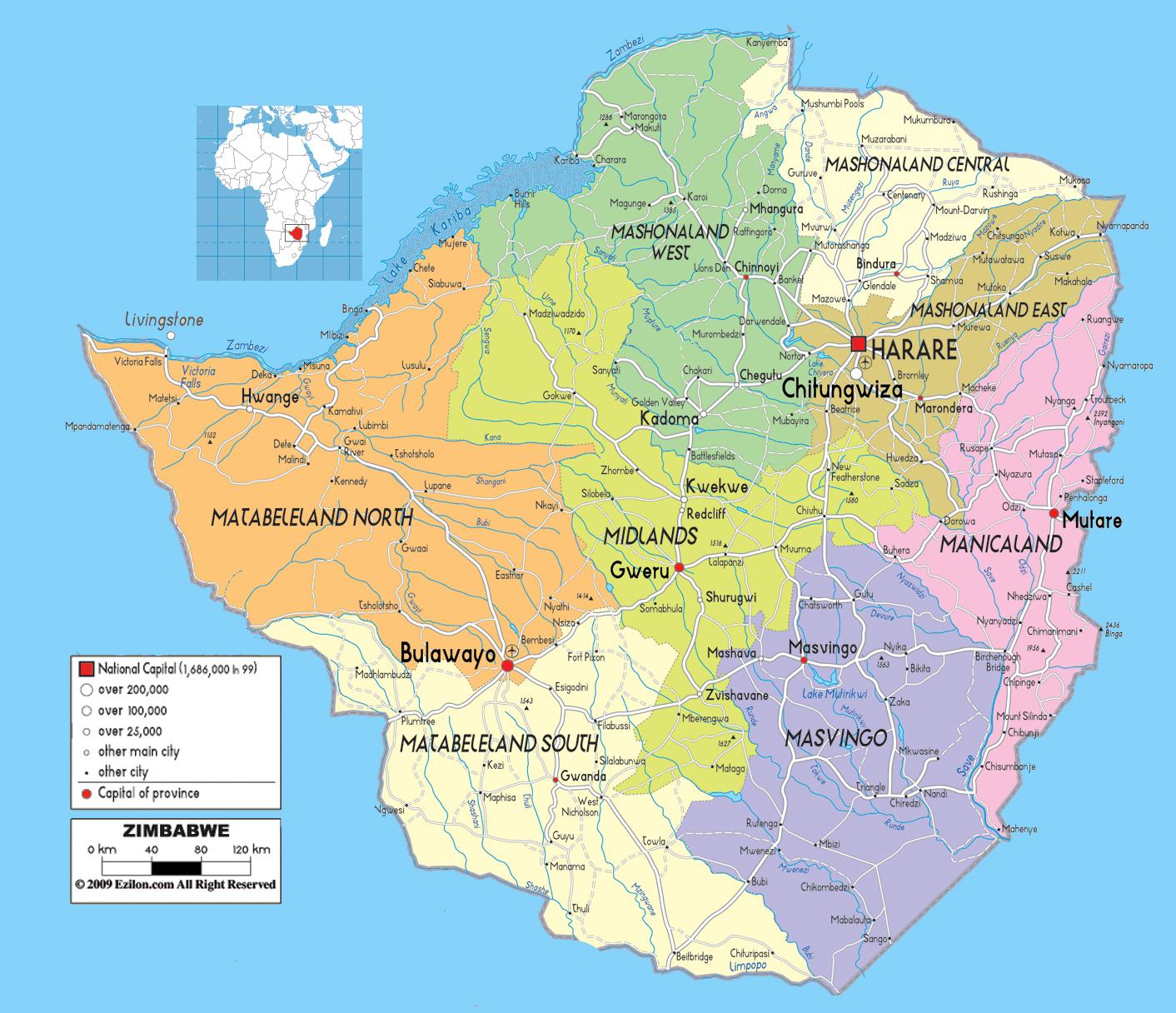 Zimbábue| Mapas Geográficos do Zimbábue