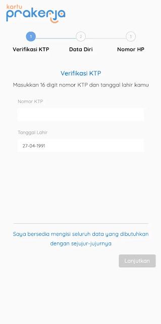 verifikasi nik ktp pendaftaran kartu prakerja; tomatalikuang.com