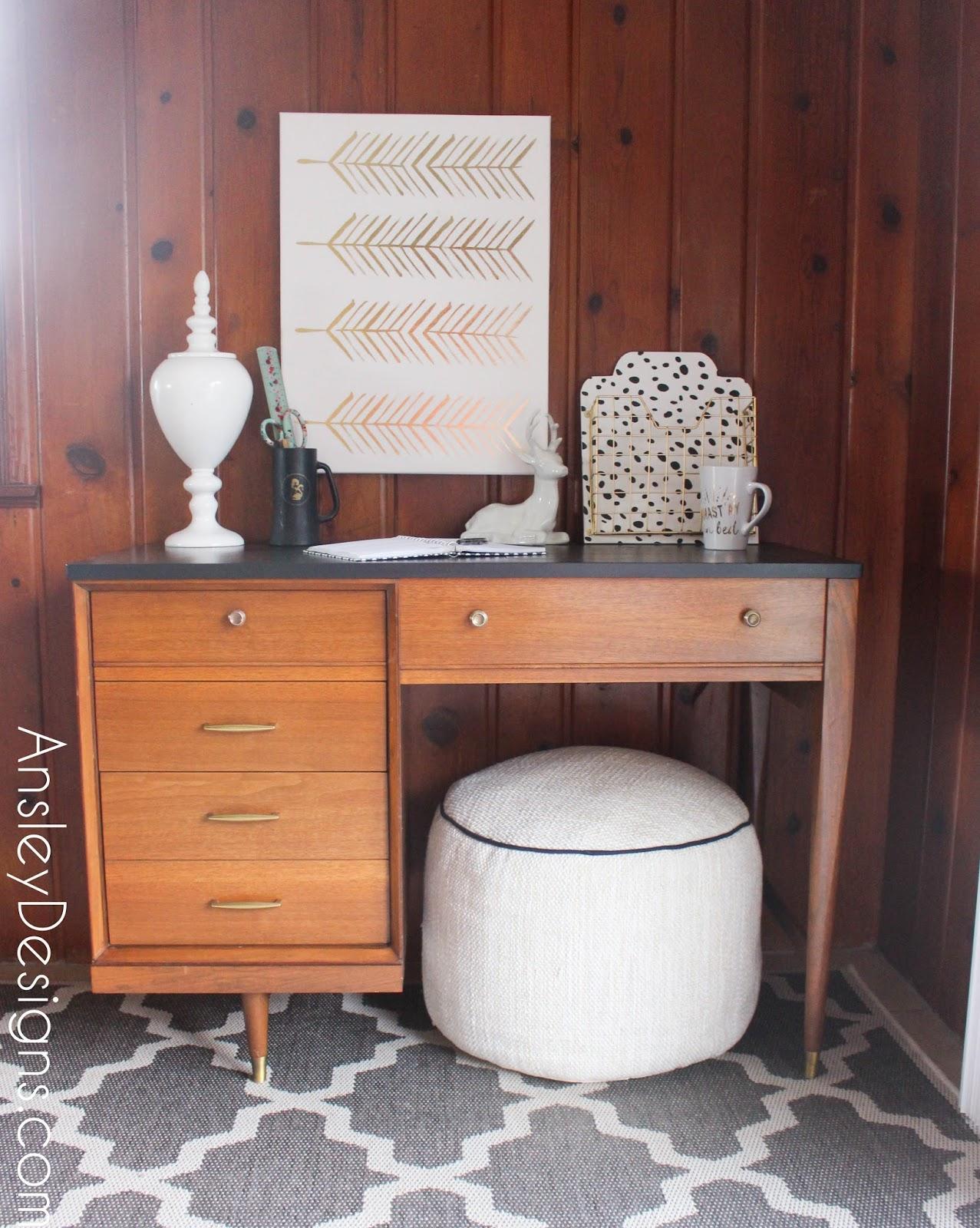 Vintage Mid Century Modern Painted Desk Mcm Midcentury
