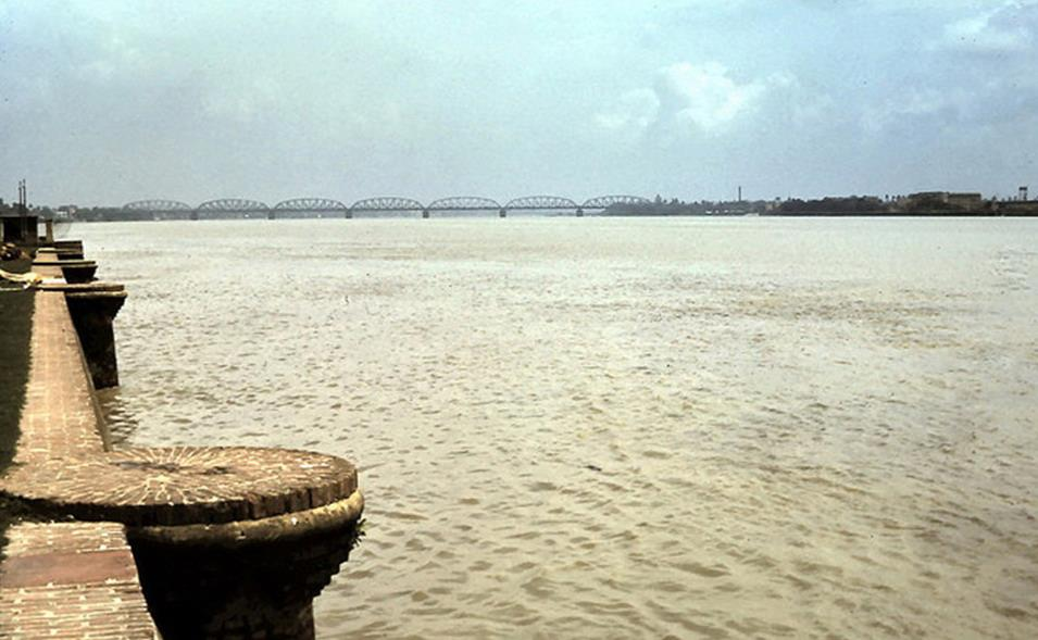 Banks of Hooghly River at Belur Math. Bally Bridge in Distance