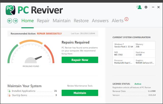 ReviverSoft PC Reviver 2.11.3.4 + Key โปรแกรมบำรุงรักษาและเพิ่มประสิทธิภาพเครื่อง