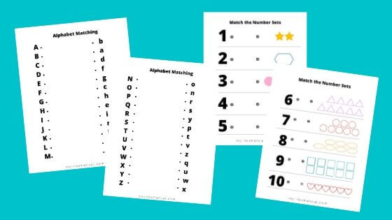 Free Alphabet And Numbers Matching For Kids