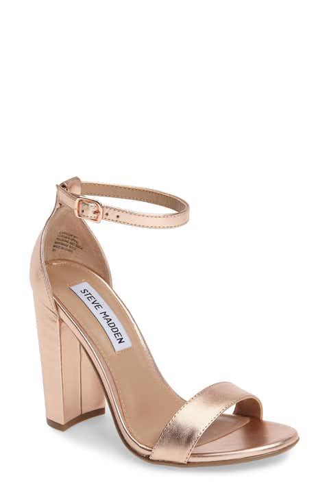 Gold steve madden block heel sandals
