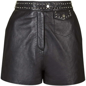 Topshop pin-stud leather short