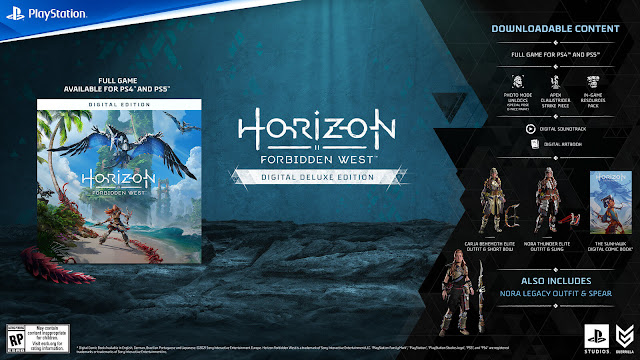 horizon forbidden west digital deluxe edition cross-gen special outfits carja behemoth short bow nora thunder elite sling special weapons in-game resources pack ammunition potions travel packs apex clawstrider machine strike piece exclusive photo mode pose face paint digital art book soundtrack horizon zero dawn graphic novel sunhawk open-world action role-playing game guerrilla games playstation sony interactive entertainment february 18, 2022 ps4 ps5