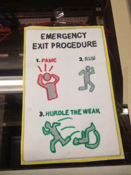 Funny Emergency Exit Procedure Sign Photo - Panic, Run, Hurdle the weak