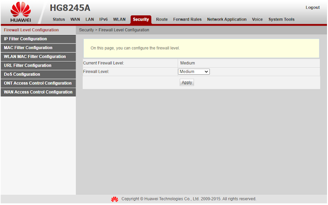 Cara Setting Firewall Modem Indihome Huawei HG8245H