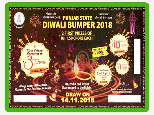 14-11-2018 Punjab Diwali Bumper Lottery Result