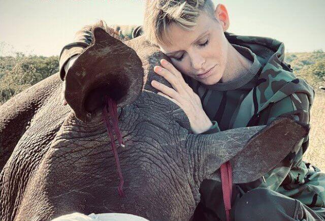 The photo was taken by wildlife photographer Christian Sperka. Princess Charlene had visited The Rhino Orphanage