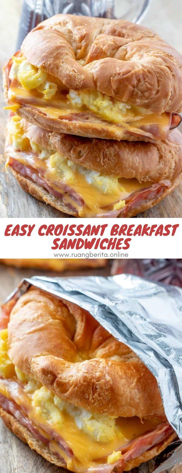 Easy Croissant Breakfast Sandwiches #easy #croissant breakfast #sandwiches