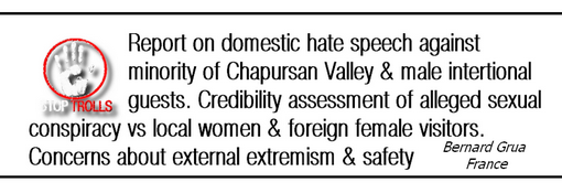 Report of a French traveler about a domestic hate speech against the Wakhi minority of Chapursan Valley and its male international guests - credibility assessment of an alleged sexual conspiracy against local women and foreign female visitors – concerns about an emerging external extremism in Pakistan