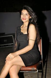 Siya Gautam in black half Shoulder Mini Dress