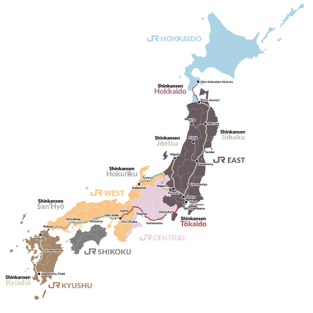 infographie répartition géographique des lignes de shinkansen au Japon