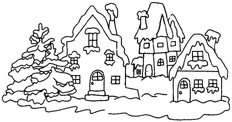 Dessins et coloriages coloriage moyen format imprimer un village hivernal avec 3 maisons - Village de noel dessin ...