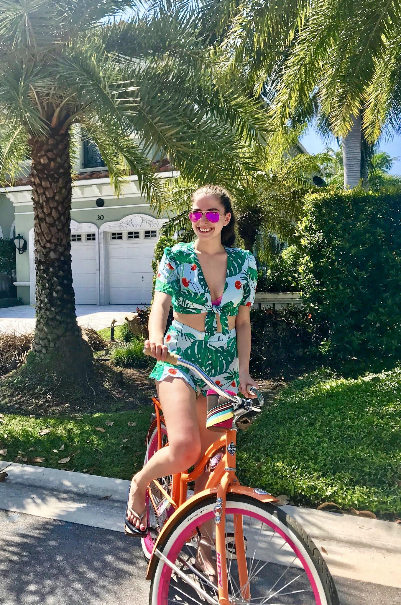 two piece set, biking, bike ride, tropical set, vacation, palm tree, florida, beach vacation, vacation outfits