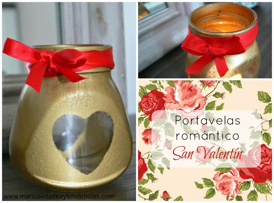 Portavelas reciclado para San Valentín
