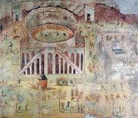 Fresco de Pompeya con la batalla campal del Anfiteatro