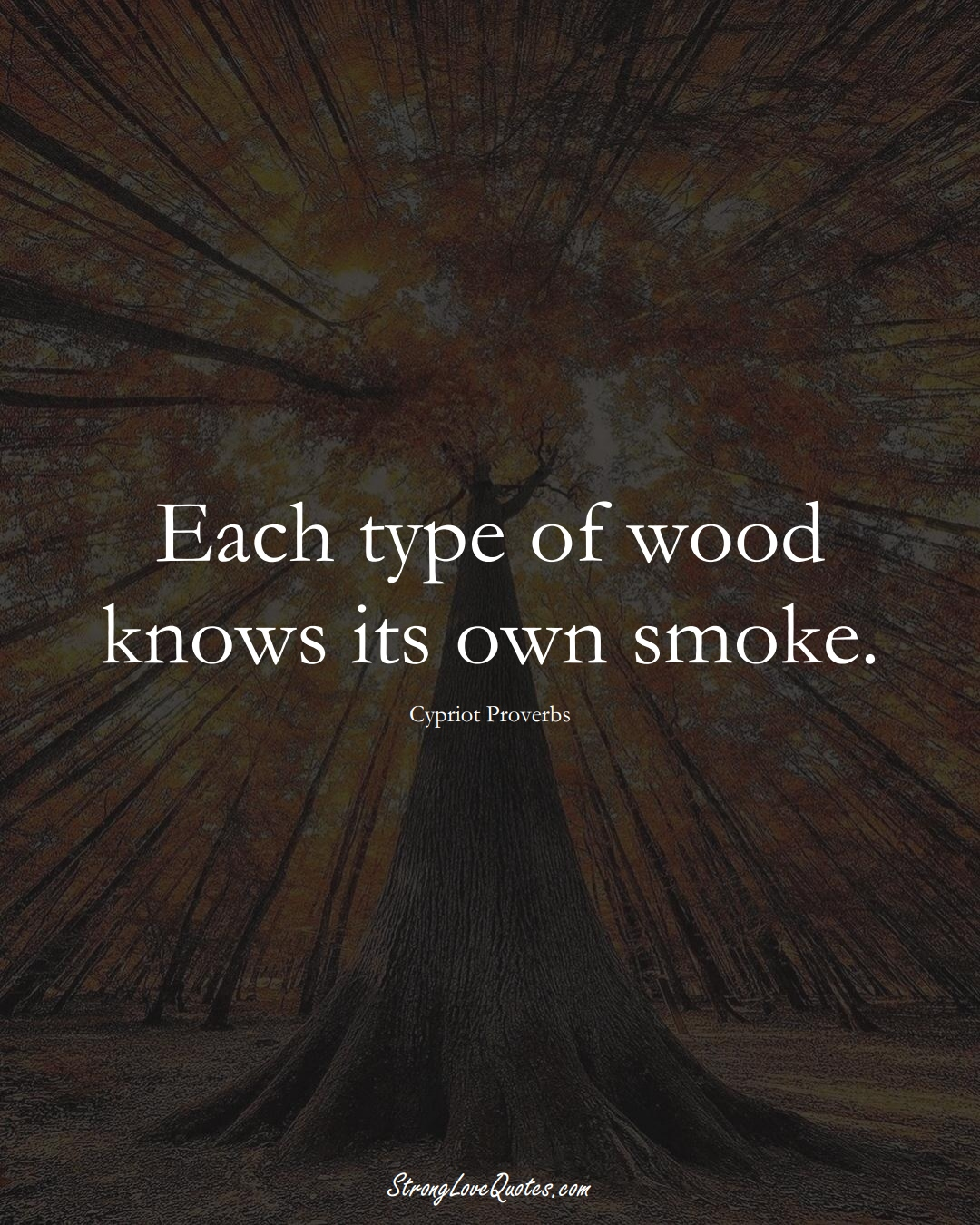 Each type of wood knows its own smoke. (Cypriot Sayings);  #MiddleEasternSayings