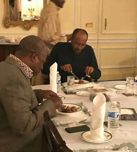 Again 'DEAD' Buhari Spotted Enjoying Sumptuous Meal With Gov. Amosun In UK