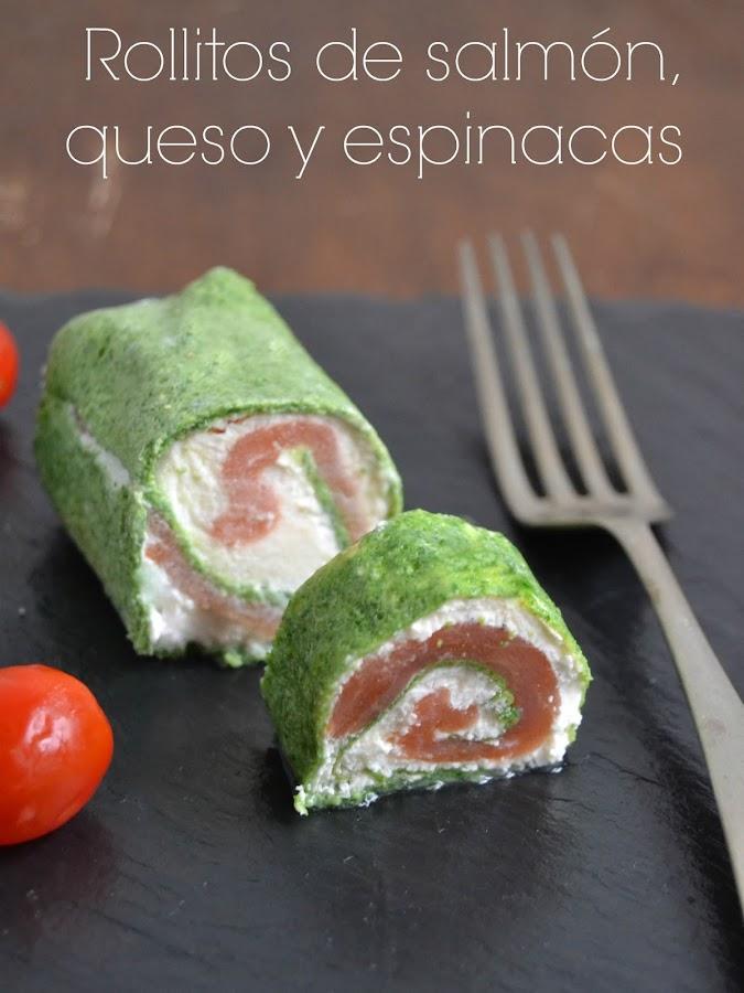 Rollitos de salmón, queso y espinacas