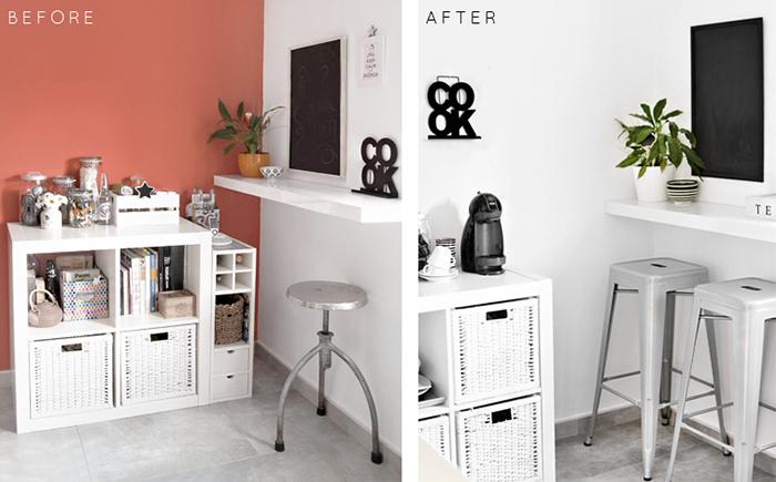antes y después exprés para una cocina black&white
