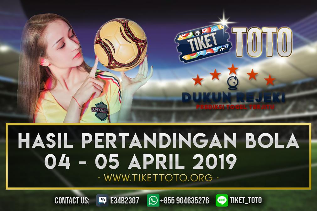 HASIL PERTANDINGAN BOLA 04 – 05 APRIL 2019