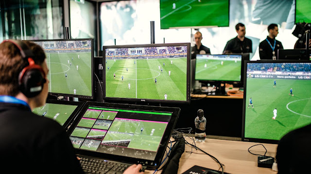 VAR room with referee watching on during a Premier League match