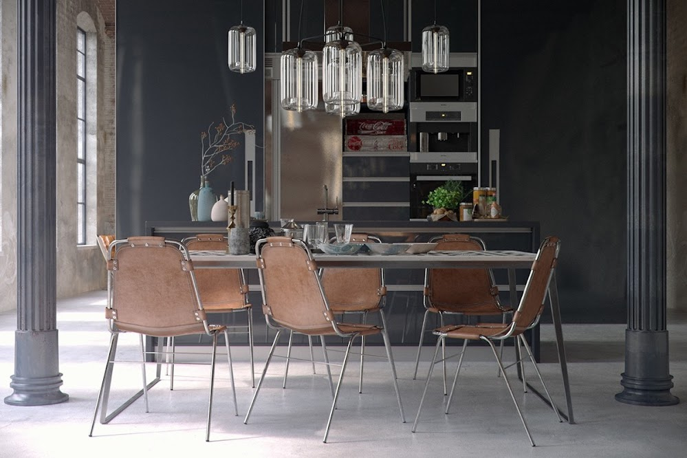 industrial-dining-room-with-leather-chairs-and-glass