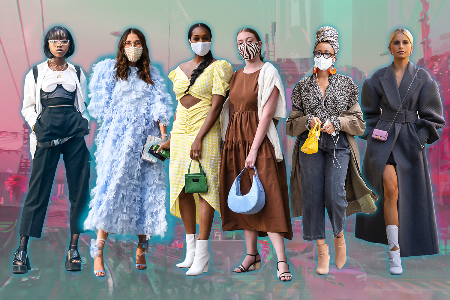 a creative collage with varous street fashion outfits
