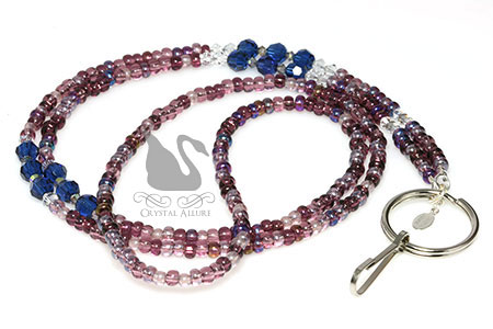 Midnight Garden Teaberry Sapphire Crystal Beaded Lanyard (L105)