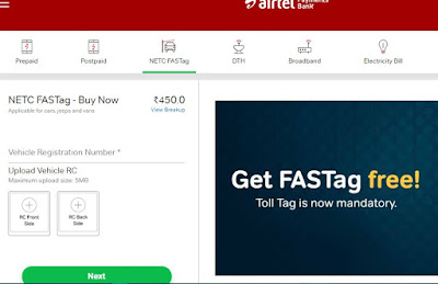 How to recharge Airtel FASTag