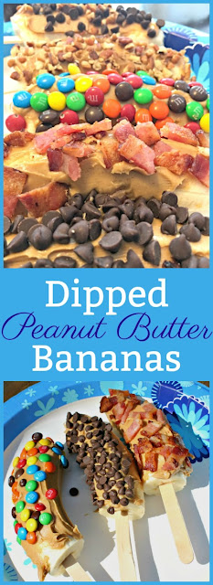 Cooking with Kids: Dipped Peanut Butter Bananas - topped with mini M&Ms, mini chocolate chips, and bacon. Easy summer treats that kids can help make. Plus they can be frozen if you want to make a lot ahead of time and save them for later.
