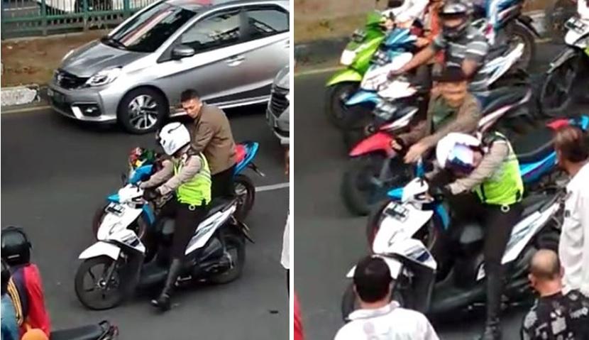 TNI pukul helm polisi