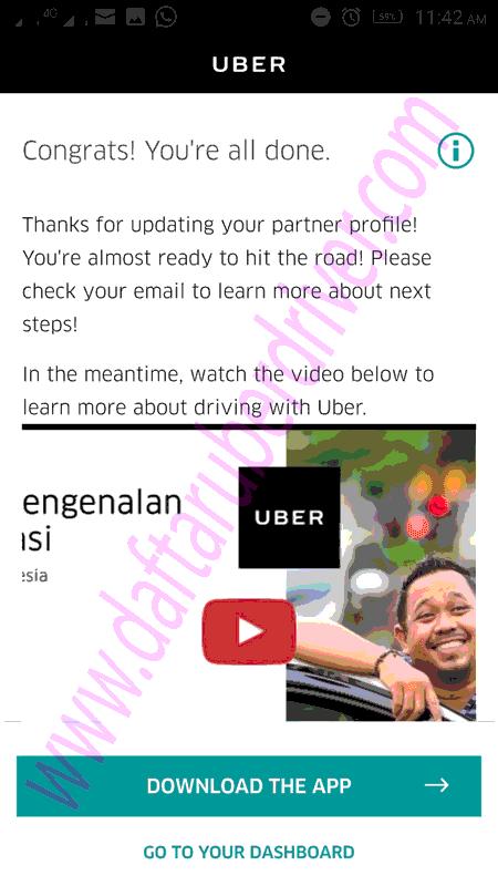 Pendaftaran Driver Uber Berhasil - DaftarUberDriver.com