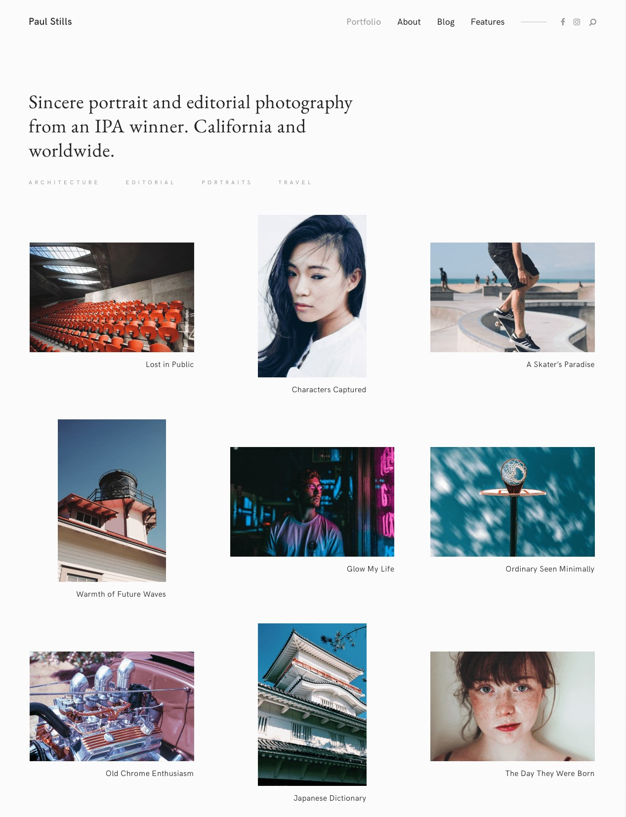 Stills  A Focused WordPress Photography Theme