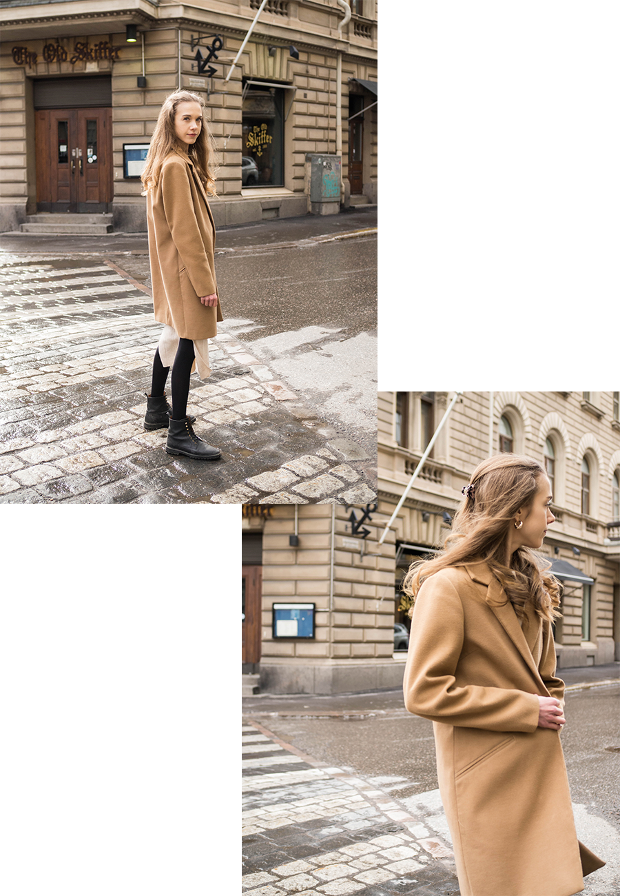 Asu kamelitakin ja beigen neulemekon kanssa // Outfit with camel coat and beige ribbed dress