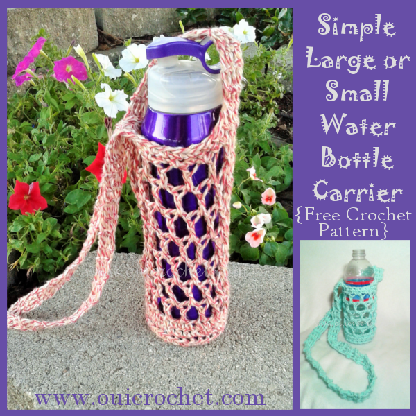 Crochet, Crochet Accessories, Crochet Gifts, Crochet Water Bottle Carrier, Free Crochet Pattern, Water Bottle Holder, #OuiCrochet