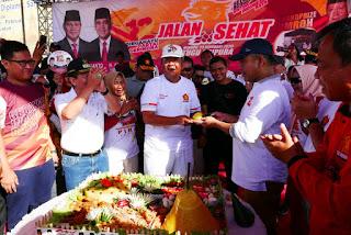 Meriah, Jalan Sehat Dalam Rangka HUT Gerindra di Bandar Lampung