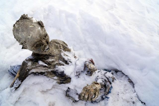snow frozen body mummy