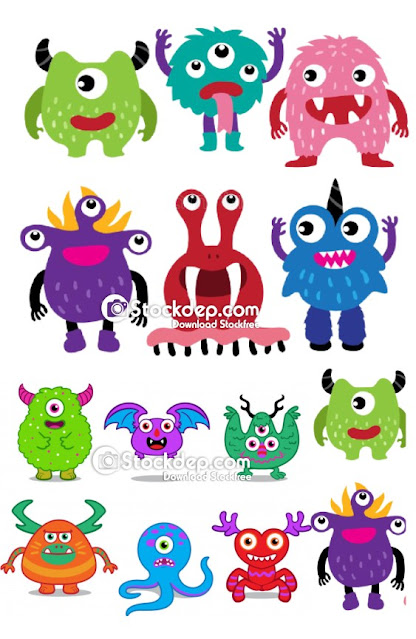 Monster character collection design, monster vector collection design free download