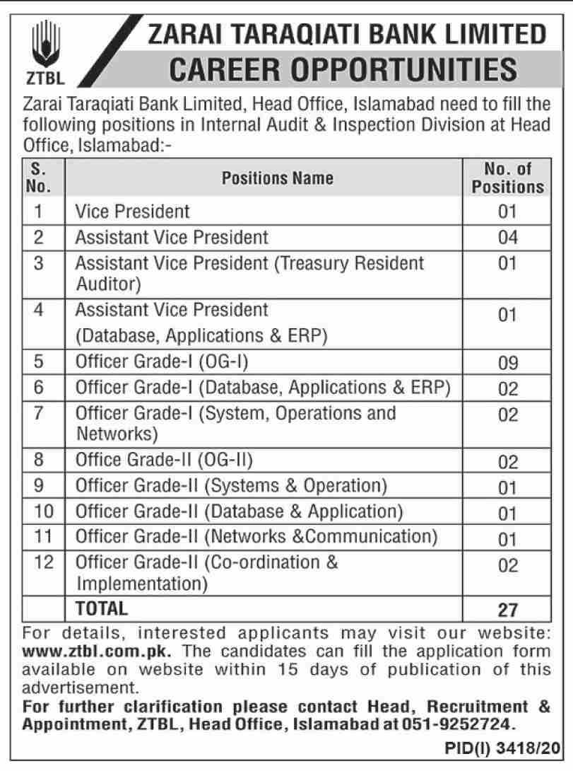 Zarai Taraqiati Bank Limited Jobs 2021 - ZTBL Jobs 2021 - Online Application Form - www.ztbl.com.pk - Latest Bank Jobs 2021