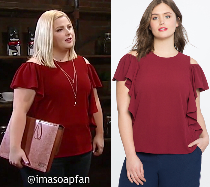 Amy Driscoll, Risa Dorken, Dark Red Cold Shoulder Flounce Top, ELOQUII, GH, General Hospital