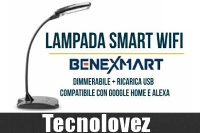 BENEXMART Lampada da Scrivania Smart WiFi Dimmerabile + Ricarica USB | Compatibile con Google Home e Alexa